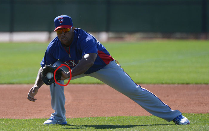 Rangers' third baseman Adrian Beltre showing palm