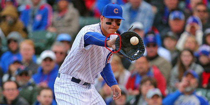 Cubs' Anthony Rizzo showing palm
