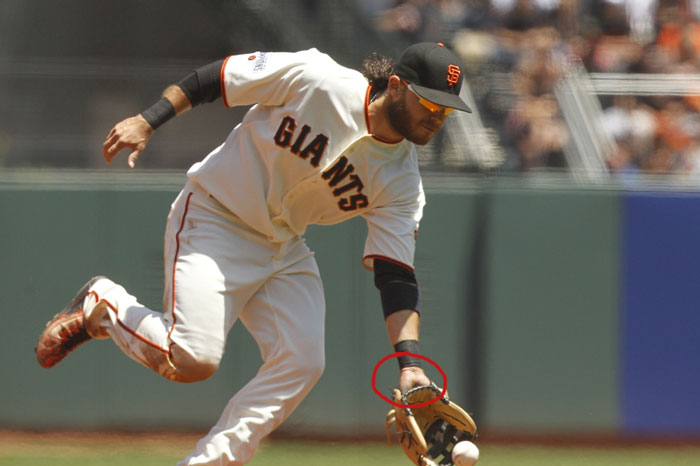 Giants' shortstop Brandon Crawford showing palm