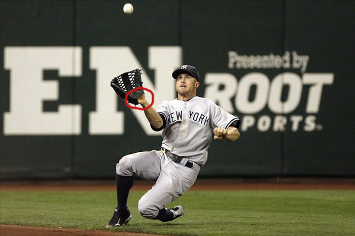 Yankees' left fielder Brett Gardner showing palm