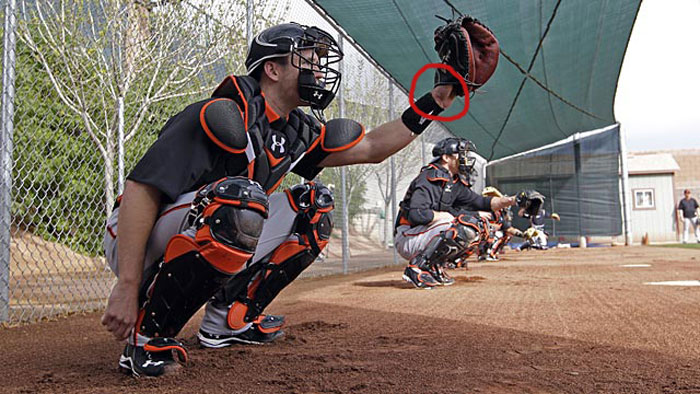 Giants' catcher Buster Posey showing palm