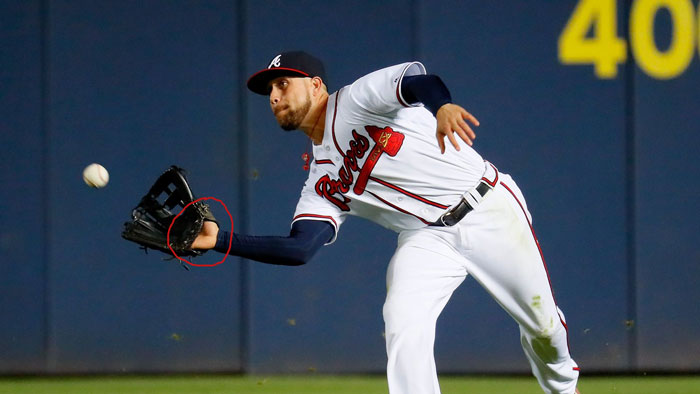 Braves' center fielder Ender Inciarte shows palm