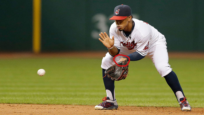 Indians' shortstop Francisco Lindor showing palm