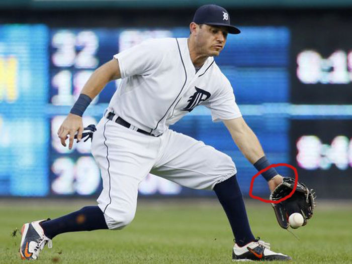 Tigers' second baseman Ian Kinsler showing palm
