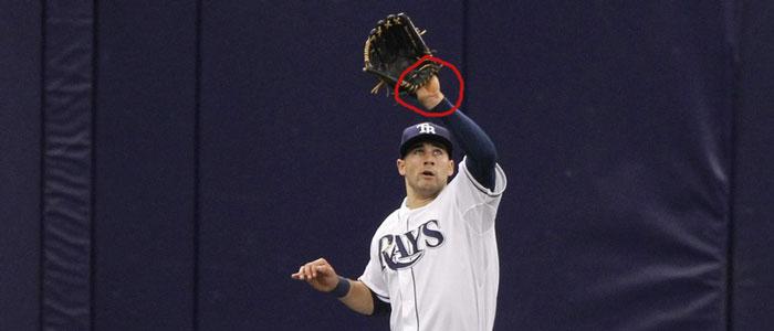 Rays' center fielder Kevin Kiermaier shows palm
