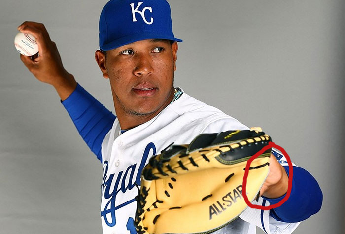 Royals' catcher Salvador Perez shows palm