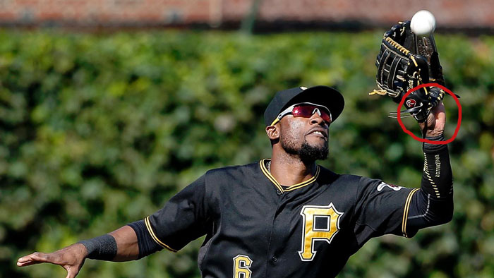 Pirates' left fielder Starling Marte showing palm
