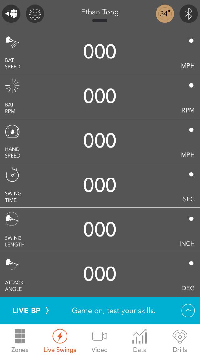Motus Batting app, Live Swings screen