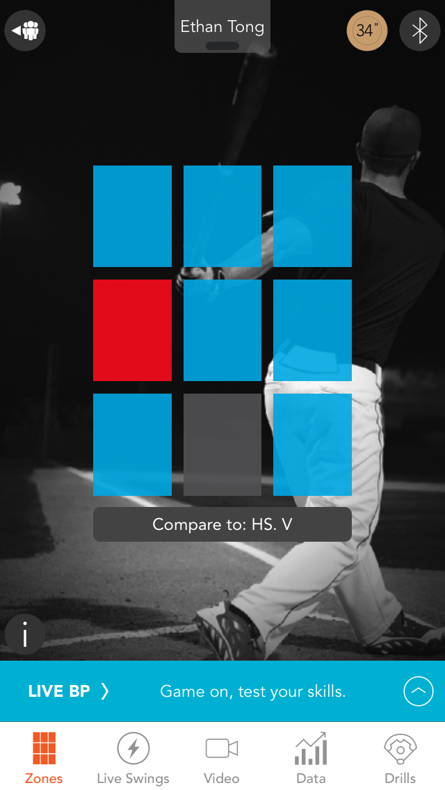 Motus Batting app Zones screen