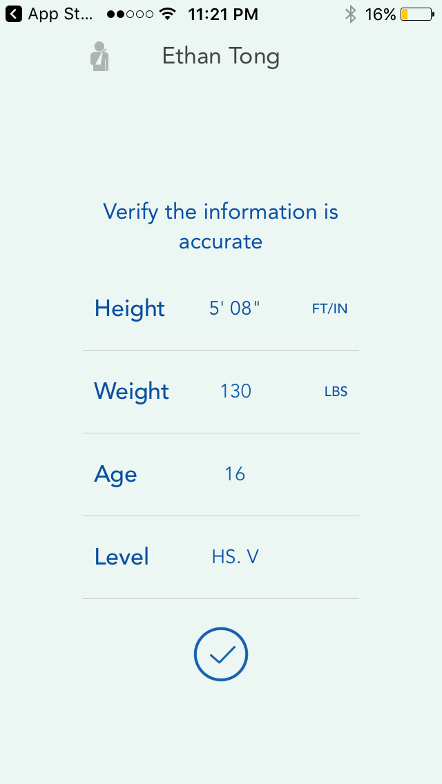 Motus Throw app, profile screen