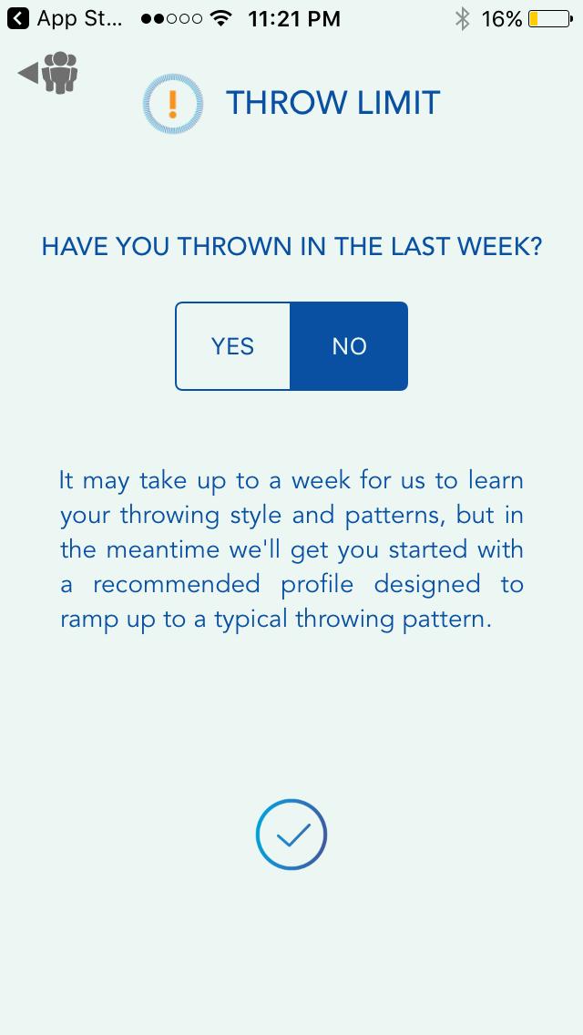 Motus Throw app, recent throwing screen