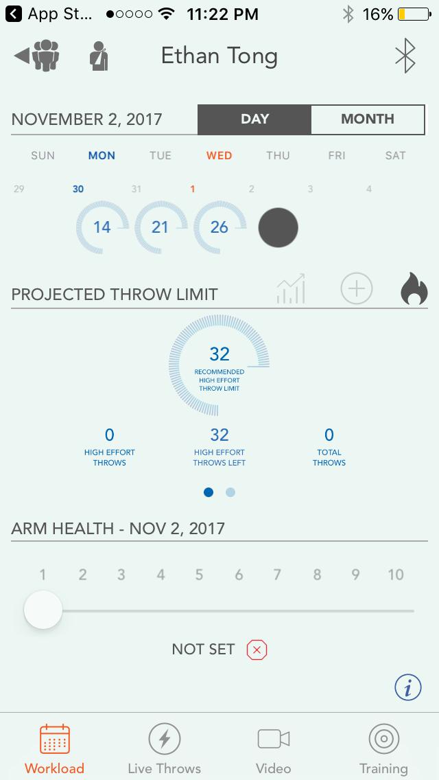 Motus Throw app, Workload screen