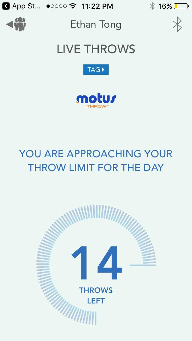 Motus Throw app, throw limit warning screen