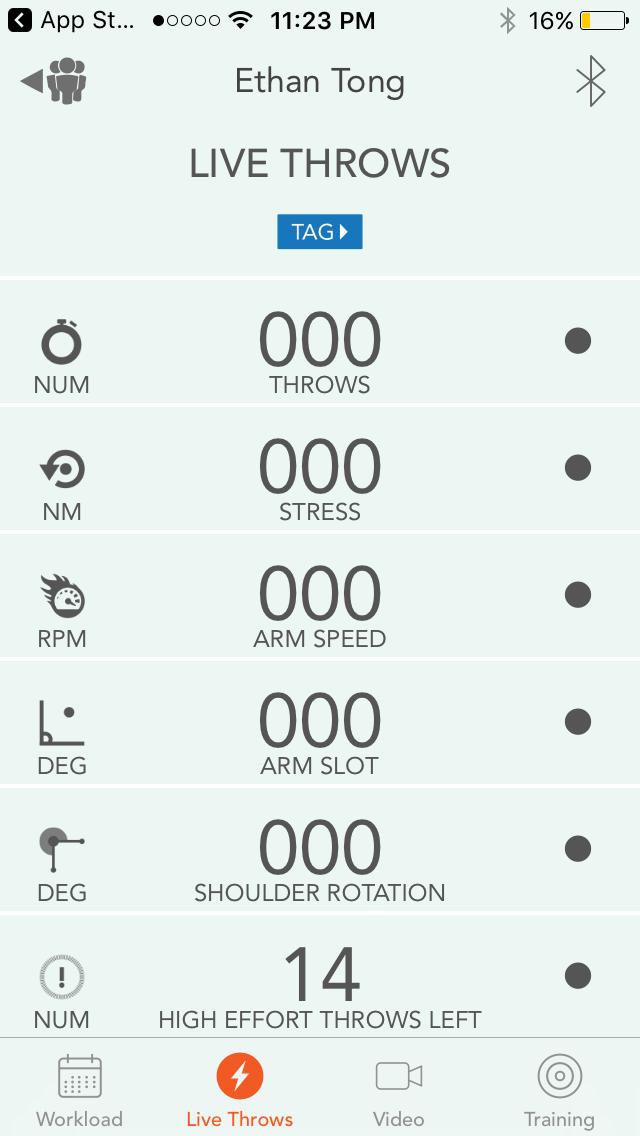 Motus Throw app, Live Throws screen