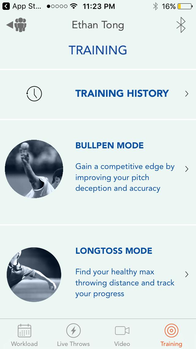 Motus Throw app, Training screen.