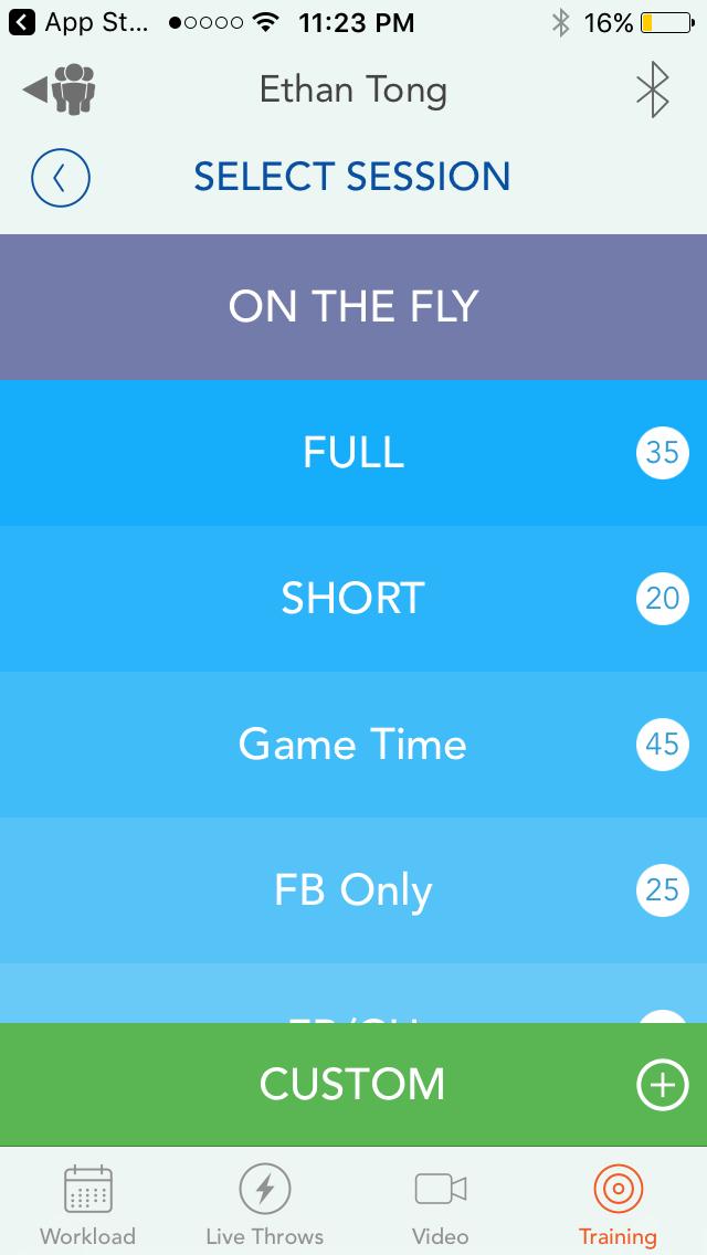 Motus Throw app, Training screen