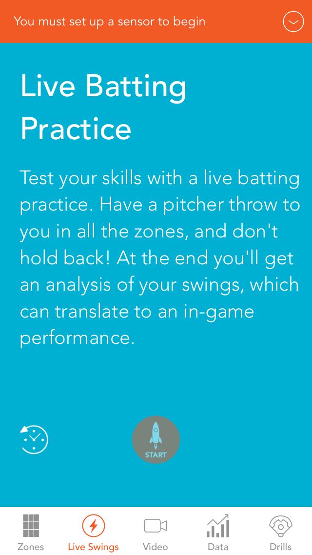 Motus Batting app, Live BP intro screen