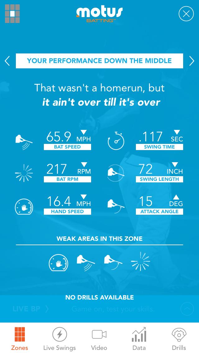 Motus Batting app, specific zone detail