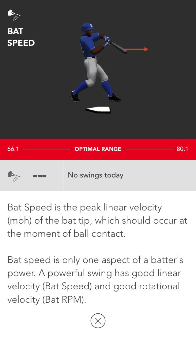 Motus Batting app, Live Swings stat info
