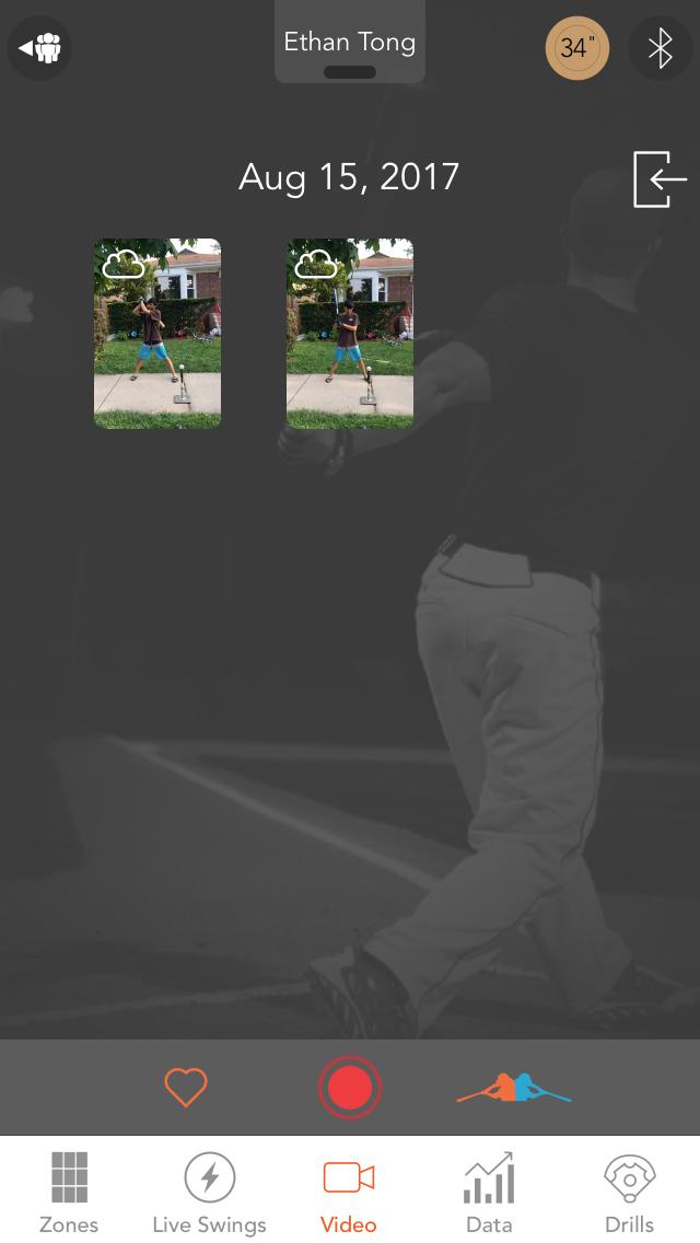 Motus Batting app, Videos screen